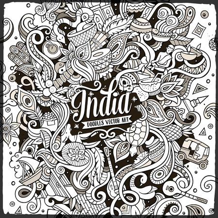 漫画かわいい落書きは手描き下ろしのインド図です。詳細は、オブジェクトの背景の多くのライン アート。面白いベクトルのアートワーク。インド