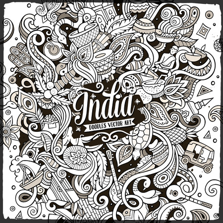 Cartoon cute doodles hand drawn India illustration. Line art detailed, with lots of objects background. Funny vector artwork. Vintage picture with indian culture theme items Иллюстрация