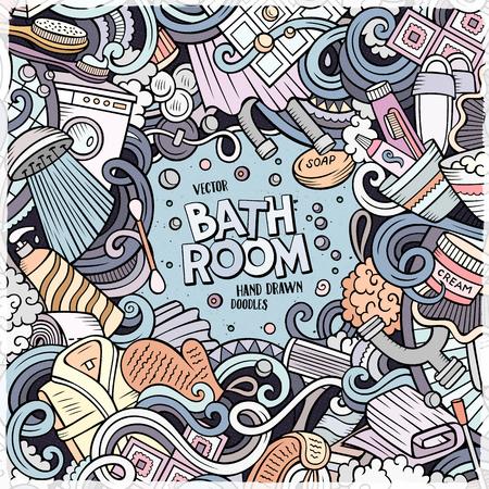 만화 귀여운 낙서 손으로 그린 욕실 프레임 디자인입니다. 다채로운, 많은 개체 배경으로 상세한. 재미 있은 벡터 일러스트 레이 션. 목욕탕 테마 항목과 밝은 색 테두리 스톡 콘텐츠 - 77931246