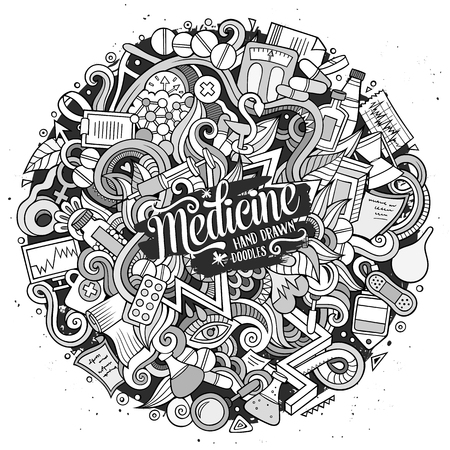 doctor tablet: Cartoon cute doodles hand drawn Medical illustration. Line art detailed, with lots of objects background. Funny vector artwork. Contour picture with Health theme items