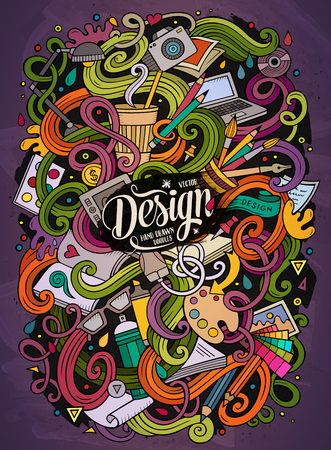 tablet pc in hand: Cartoon cute doodles hand drawn Design illustration. Colorful detailed, with lots of objects background. Funny vector artwork. Bright colors picture with Artistic theme Illustration