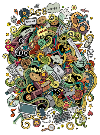 Cartoon cute doodles hand drawn social media illustration. Colorful detailed, with lots of objects background. Funny vector artwork. Bright colors picture with internet theme items. Square composition. Ilustração