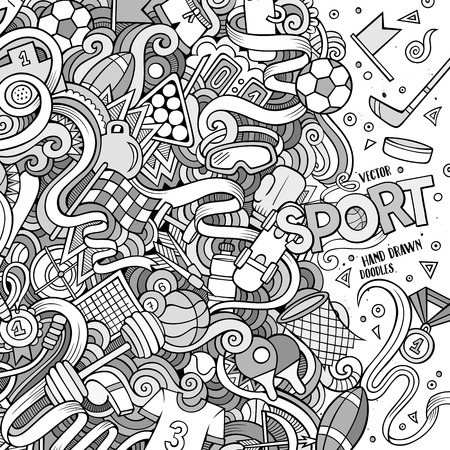 objects equipment: Cartoon cute doodles hand drawn Sport frame design. Line art detailed, with lots of objects background. Funny vector illustration. Vintage border with sports equipment items