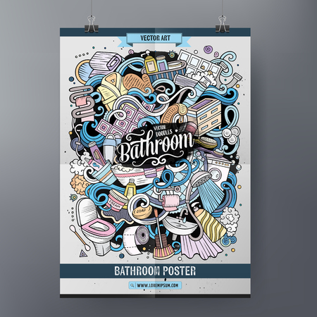 Cartoon colorful hand drawn doodles Bathroom poster template. Very detailed, with lots of objects illustration. Funny vector artwork. Corporate identity design Çizim