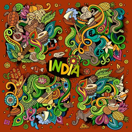 インディアンのデザインのカラフルなベクトル手描き落書き漫画セット