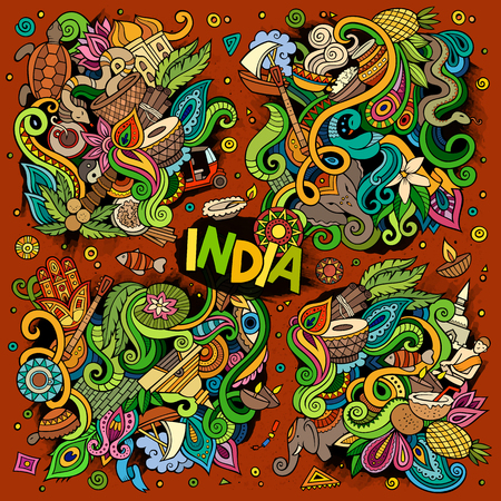 Colorful vector hand drawn doodle cartoon set of Indian designs