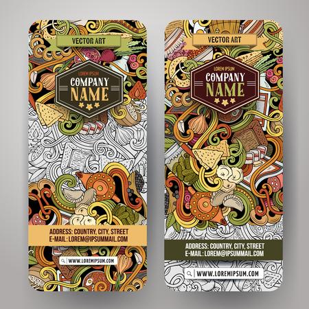 Cartoon cute colorful vector hand drawn doodles Russian food corporate identity. 2 vertical banners design. Templates set Иллюстрация
