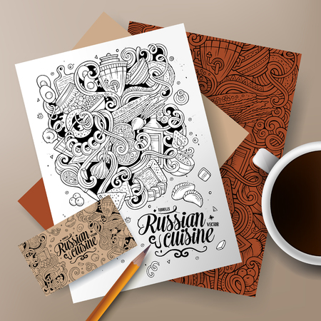 Cartoon cute line art vector hand drawn doodles Russian food corporate identity set. Templates design of business card, flyers, posters, papers on the table
