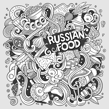 Cartoon cute doodles hand drawn Russian food illustration. Line art detailed, with lots of objects background. Funny vector artwork. Contour picture with cuisine theme items