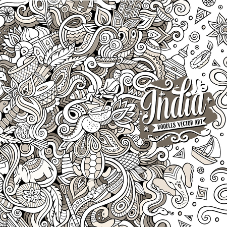 Cartoon hand-drawn doodles India illustration
