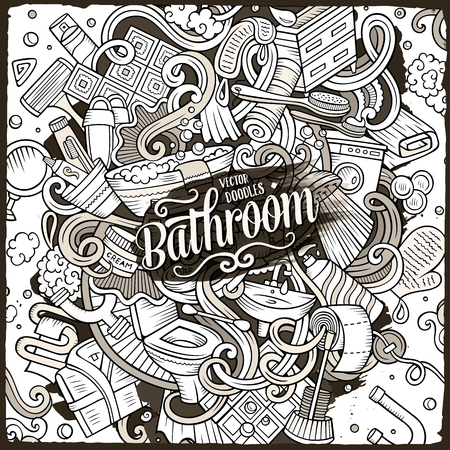 Cartoon cute doodles Bathroom illustration