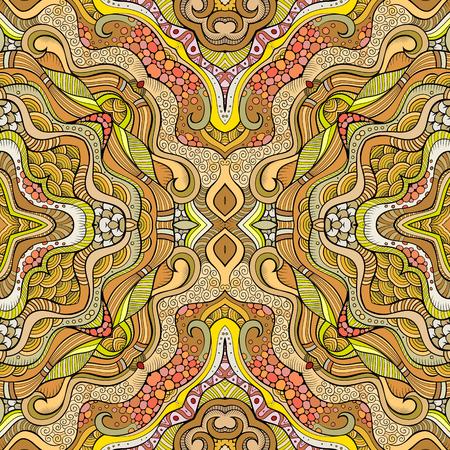 Abstracte vector decoratieve etnische bloemen naadloze patroon Stock Illustratie