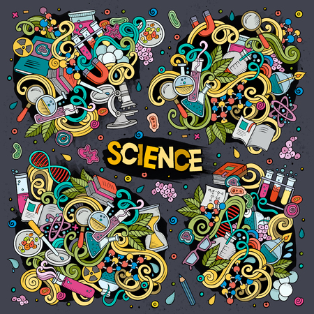 Vector cartoon set of Science doodles designs Illustration
