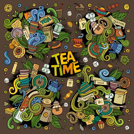 Tea time vector doodles design Illustration