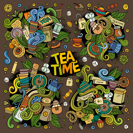 Tea time vector doodles design Иллюстрация