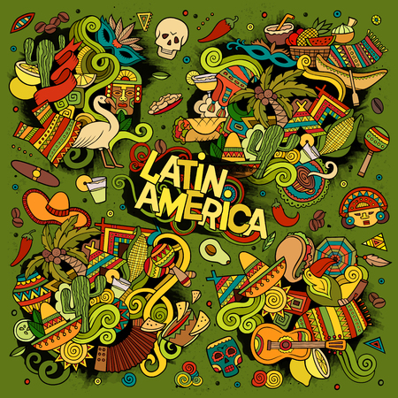 Colorful vector hand drawn Doodle Latin American objects Illustration