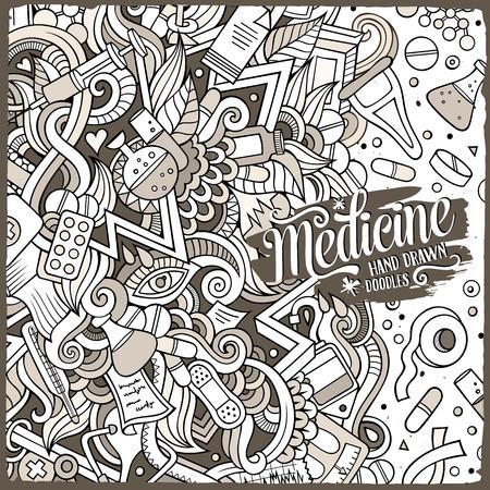 Cartoon cute doodles Medical frame