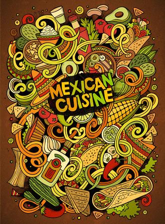 latinoamerica: Cartoon cute doodles Mexican food illustration