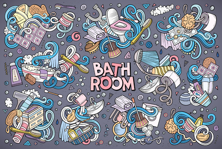 Vector hand drawn doodle cartoon set of Bathroom objects and symbols