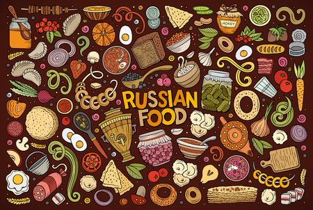 Vector hand drawn doodle cartoon set of Russian food theme items, objects and symbols