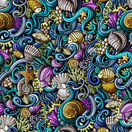 Cartoon doodles under water life seamless pattern