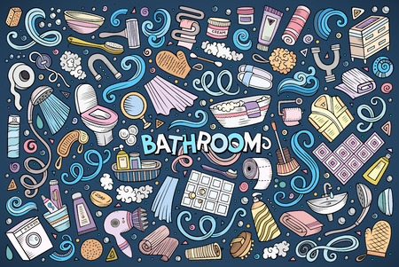 Vector set of Bathroom objects Illustration