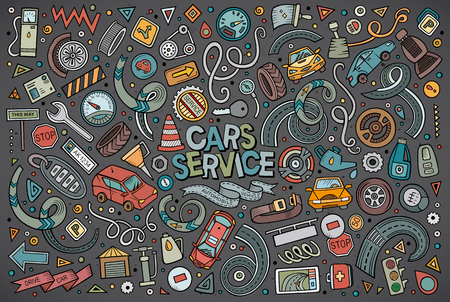 Vector cartoon set of Automobile objects