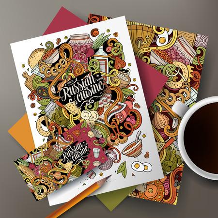 Cartoon cute vector doodles Russian food corporate identity set