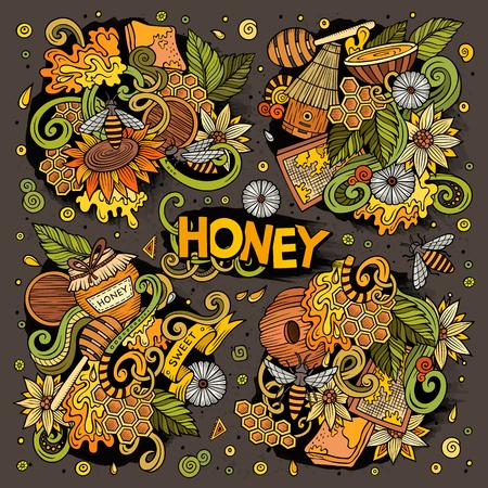 Vector Cartoon-Set von Honig Thema Doodles Design-Elemente Standard-Bild - 78148654