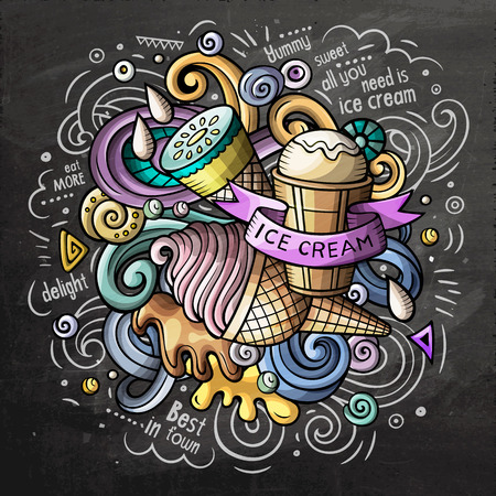 Ice Cream cartoon vector doodle watercolor illustration Illustration