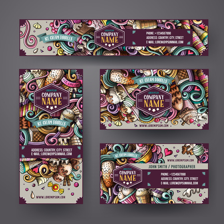 Cartoon doodles ice cream corporate identity set