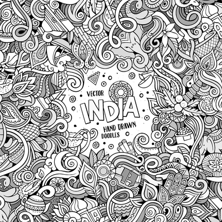 Cartoon hand-drawn doodles India illustration