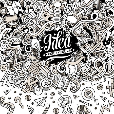 Cartoon hand-drawn doodles Concept illustration Illustration