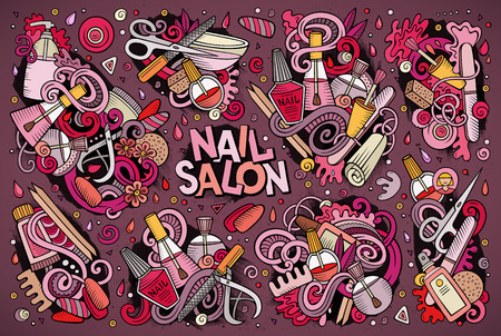 Vector cartoon set of Nail salon theme doodles design elements