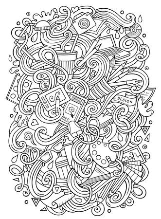 Cartoon cute doodles Design illustration Illustration