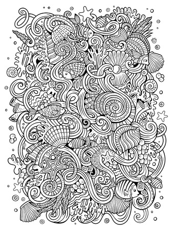 Cartoon hand-drawn doodles Underwater life illustration