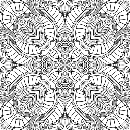 抽象的なベクトルの装飾的な民族手書きスケッチの輪郭のシームレス パターン