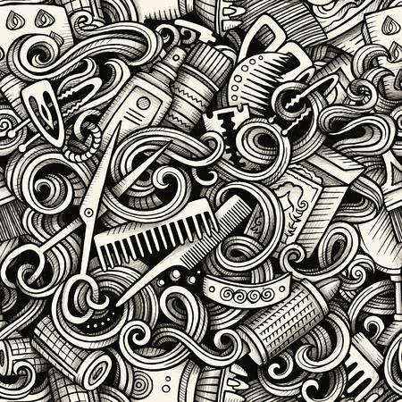 グラフィックの髪サロン手描かれた芸術的な落書きシームレス パターン。詳細は、オブジェクトのラスター背景の多くが付いて、モノクロ