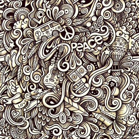 Graphic Hippie hand drawn artistic doodles seamless pattern. Monochrome, detailed, with lots of objects raster background Stock Photo