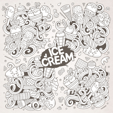 Line art vector hand drawn doodle cartoon set of ice-cream objects and symbols Ilustração