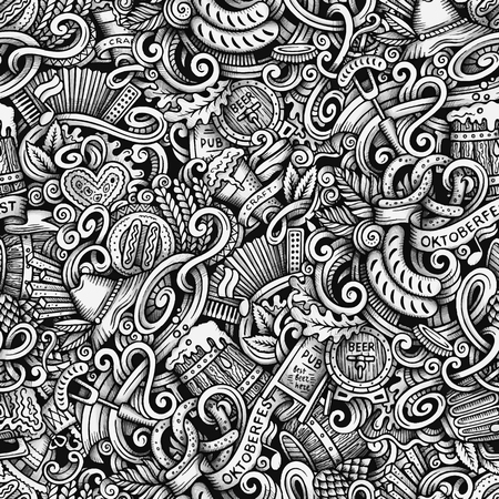 vector raster background: Cartoon hand-drawn doodles Octoberfest seamless pattern. Line art trace detailed, with lots of objects vector background Illustration