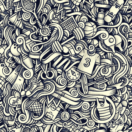 boxing tape: Graphic Sport hand drawn artistic doodles seamless pattern. Monochrome, detailed, with lots of objects raster background Stock Photo