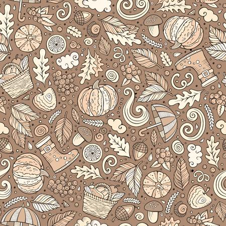 Cartoon cute hand drawn Autumn seamless pattern Reklamní fotografie - 79182090