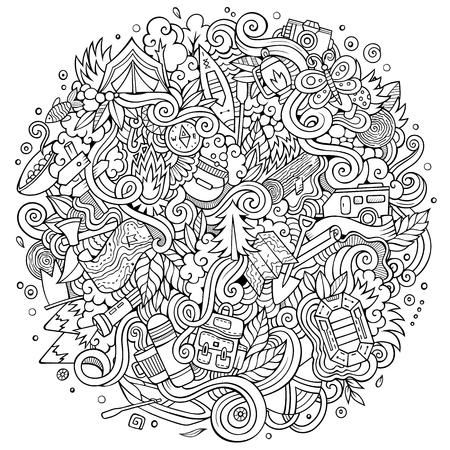 Cartoon hand-drawn doodles camp illustration Иллюстрация