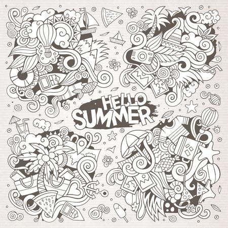 Lijn kunst vector hand getekende doodle cartoon set van zomertijd seizoen objecten en symbolen