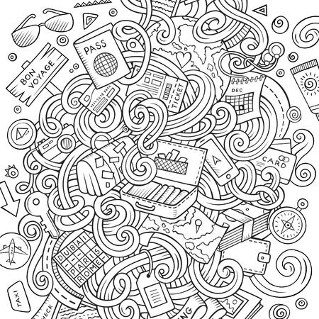 かわいい漫画落書き手描きイラストを旅行します。詳細は、オブジェクトの背景の多くのライン アート。面白いベクトルのアートワーク。旅行計画