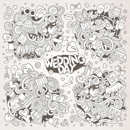 wedding love: Wedding and love sketchy vector doodle designs
