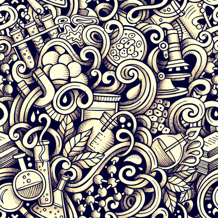 Graphic Science hand drawn artistic doodles seamless pattern. Monochrome, detailed, with lots of objects raster background