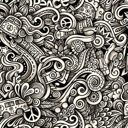 Graphic Hippie hand drawn artistic doodles seamless pattern. Mon