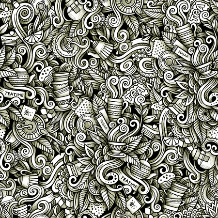 Graphic Tea time hand drawn artistic doodles seamless pattern. Monochrome, detailed, with lots of objects raster background